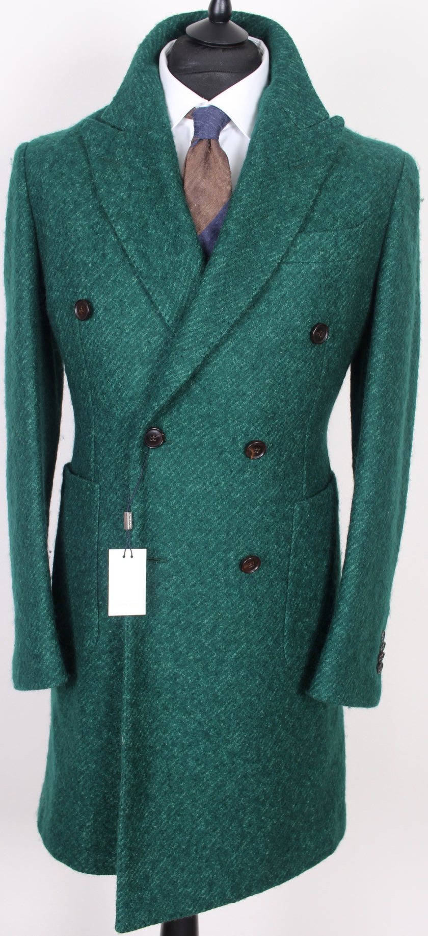 New Suitsupply Lavello Green Wool and Mohair DB Coat - Size 38R