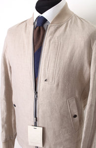 New Suitsupply SUMMER BOMBER Light Brown 100% Linen Jacket - Size 38R