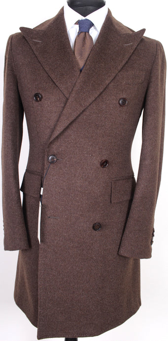 New Suitsupply Bleecker Brown 100% Wool DB Coat - Size 38R