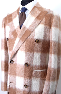 New Suitsupply Bleecker Brown Plaid Super Furry 58% Alpaca DB Coat - Size 38R