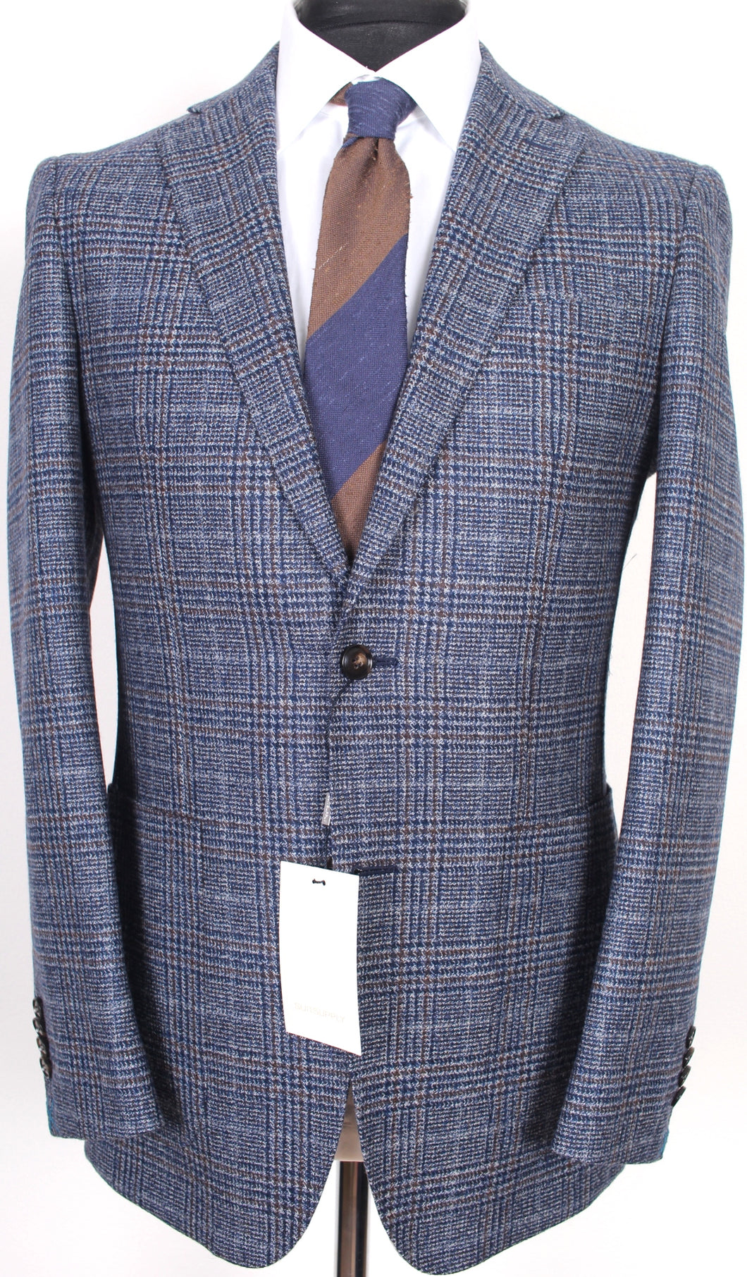 New Suitsupply Havana Blue/Brown Check 100% Wool Suit - Size 38R (FINAL SALE)