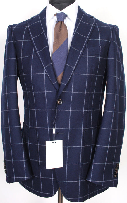 New Suitsupply Havana Navy Windowpane 100% Wool Flannel Blazer - Size 40R