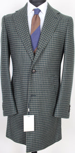 New Suitsupply Vincenza Green Houndstooth 100% Wool Coat - Size 38R