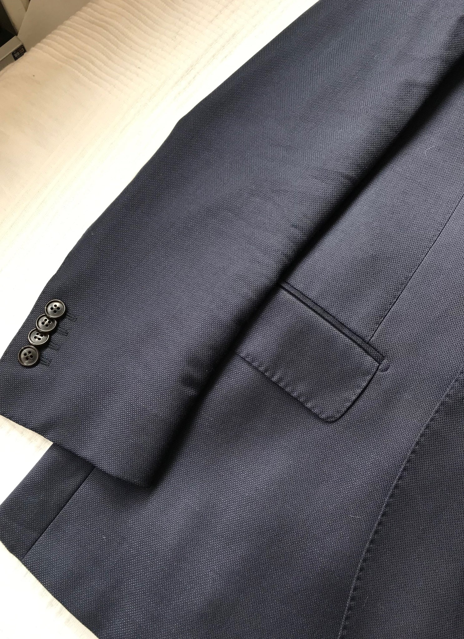 USED SUITSUPPLY LAZIO Navy Blue Wool, Linen and Cotton Suit