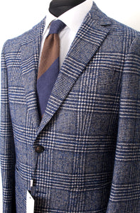 New Suitsupply Havana Blue Check Wool and Cotton Unconstructed Blazer - Size 38R