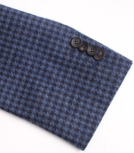 New Suitsupply Havana Wide Lapel Blue Houndstooth Wool/Cashmere 3 Piece Suit - Size 36R