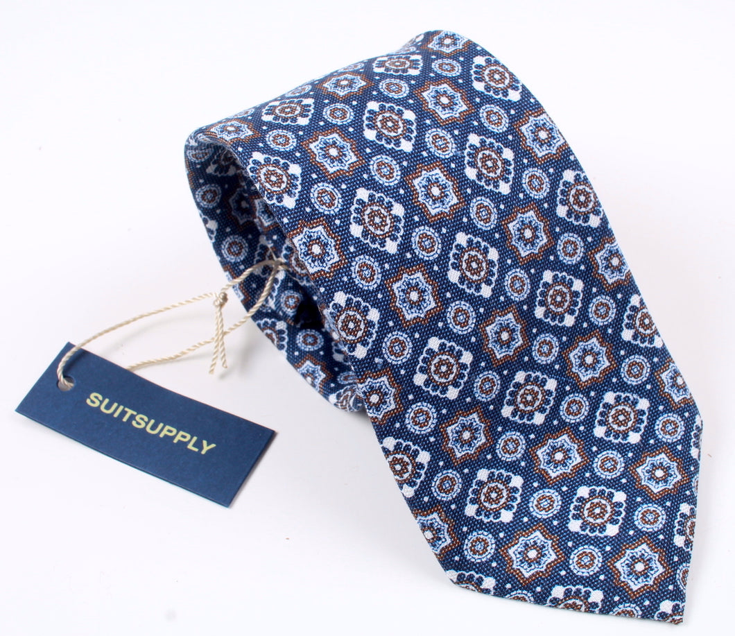 New SUITSUPPLY Blue Graphic Silk and Linen Tie