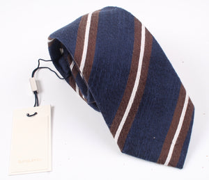 New SUITSUPPLY Navy/Brown Stripe Cotton, Linen And Silk Tie