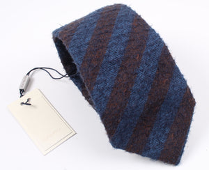 New SUITSUPPLY Blue/Brown Stripe Wool and Silk Tie