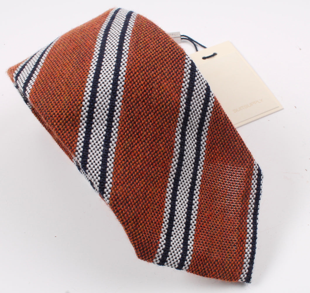 New SUITSUPPLY Orange Stripe 87% Wool and 13% Silk Tie