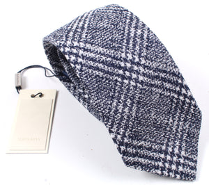 New SUITSUPPLY Blue Check Wool and Silk Tie