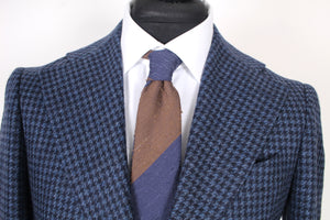 New Suitsupply Havana Blue Houndstooth Wool and Cashmere Wide Lapel Blazer - Size 38R