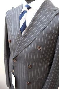 New With Tags SOHO Dark Gray Pinstripe 100% Wool Super 130s DB Blazer - Size 40S