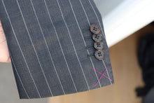 Load image into Gallery viewer, New With Tags SOHO Dark Gray Pinstripe 100% Wool Super 130s DB Blazer - Size 40S