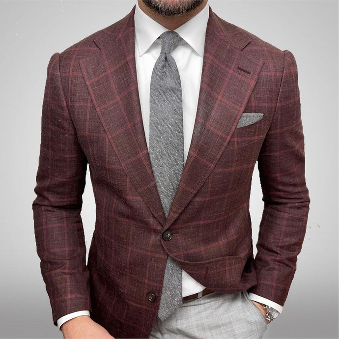 New Suitsupply Havana Burgundy Check Wool, Silk and Linen Wide Lapel Blazer - Size 36R, 38R, 42L
