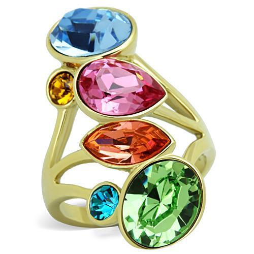 IP Gold(Ion Plating) Stainless Steel Ring With Top Grade Crystal in Multi Color
