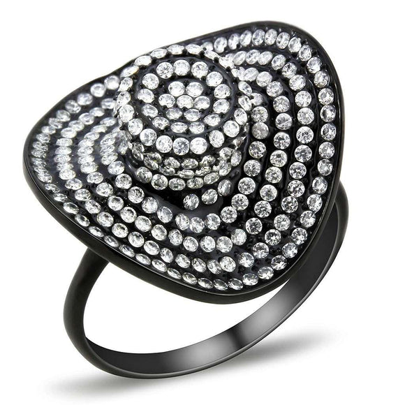 Black IP(Ion Plating) Stainless Steel Ring With AAA Grade CZ in Clear