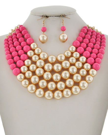 vb042-Layered Pear Multi Necklace Set
