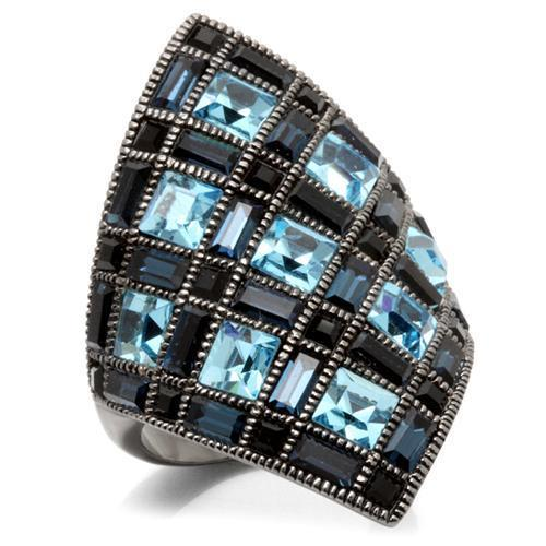 Ruthenium Brass Ring With Top Grade Crystal in Sea Blue
