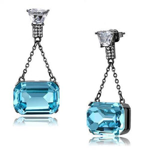 IP Light Black  (IP Gun) Stainless Steel Earrings With Top Grade Crystal in Sea Blue
