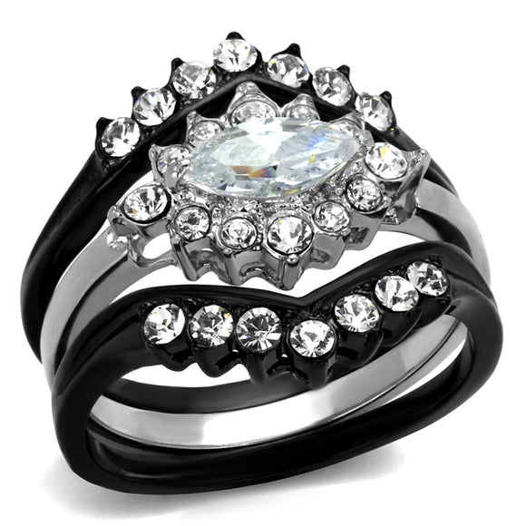 Two-Tone IP Black Stainless Steel Ring With AAA Grade CZ in Clear