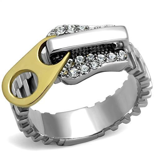 TK2520 Two-Tone IP Gold (Ion Plating) Stainless Steel Ring With Top Grade Crystal in Clear