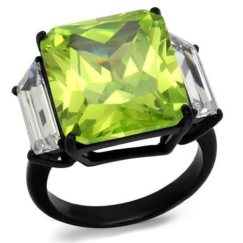 IP Black(Ion Plating) Stainless Steel Ring With AAA Grade CZ in Apple Green Color