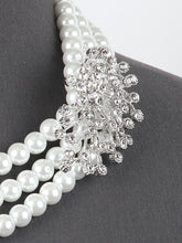 Load image into Gallery viewer, Multi-layered Rhinestone Pearl Necklace Set