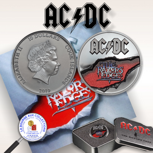 ILES COOK - 10 DOLLARS RAZORS EDGE AC/DC - 2019  / La Bourse aux Collections Numismate Melun