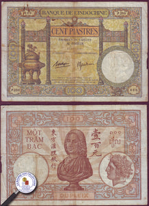 INDOCHINE - 100 PIASTRES 1936 - pick.51d/ La Bourse aux Collections Numismate Melun