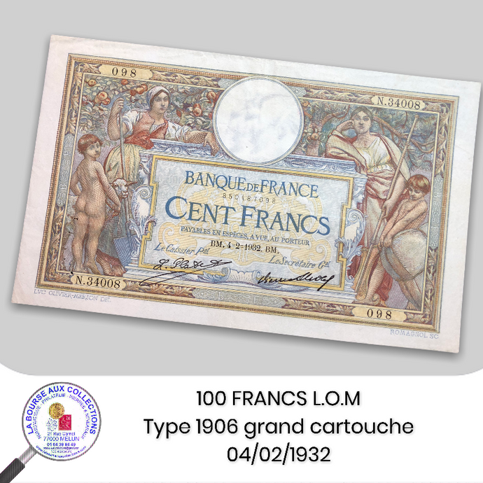 100 Francs Luc Olivier Merson type 1906 grand cartouche - 04/02/1932