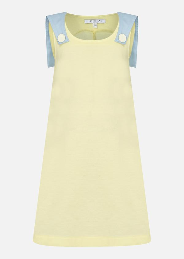 owa yurika yellow no sleeve summer dress omaira