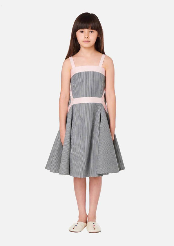 Girls Summer Stripe Denim Dress Japanese Luxury Children Clothing Owa Yurika