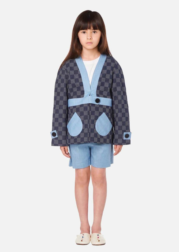 Children navy check denim jacket Owa Yurika Japanese Luxury Brand