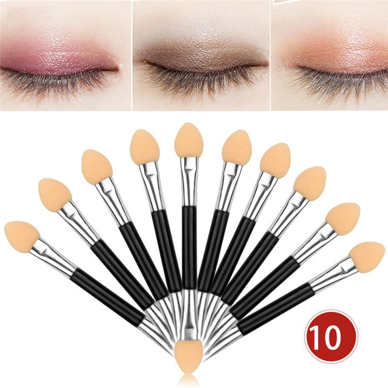 10Pcs Double-end Eye Shadow Brush/Sponge Applicator Tool