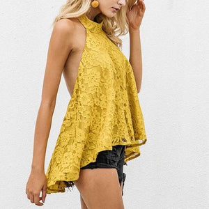 Halter backless lace top