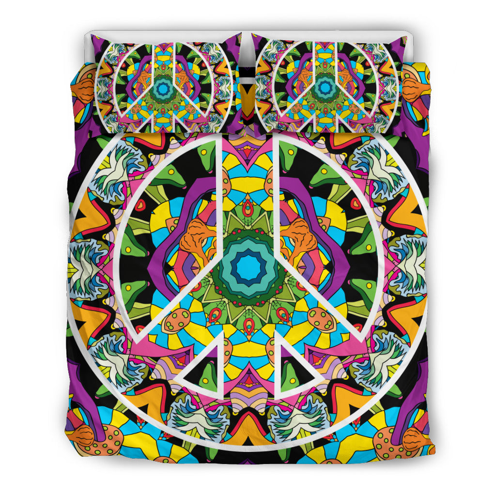 Hippie Peace Mandala Bedding Set.