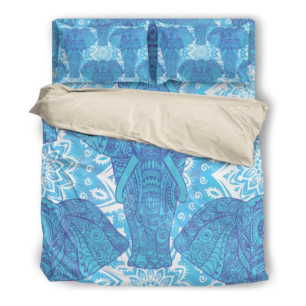 Bedding Set / Twin Beige Bedding Set Mandala Elephant