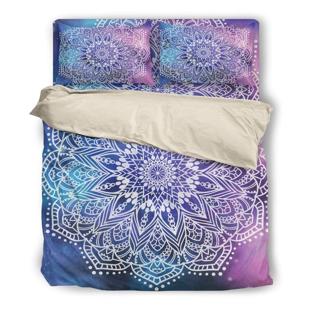 Bedding Set / Twin Beige Bedding Set Mandala Purple