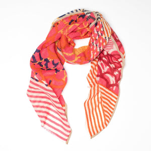 FOULARD CÉLESTE - ROSE ET ORANGE