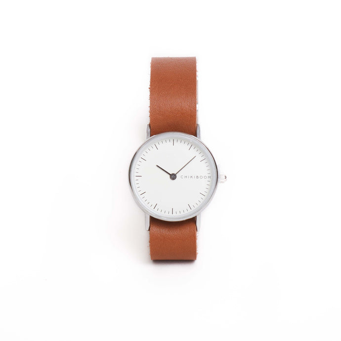 MONTRE SIMPLE EN CUIR - CARAMEL ET BLANC