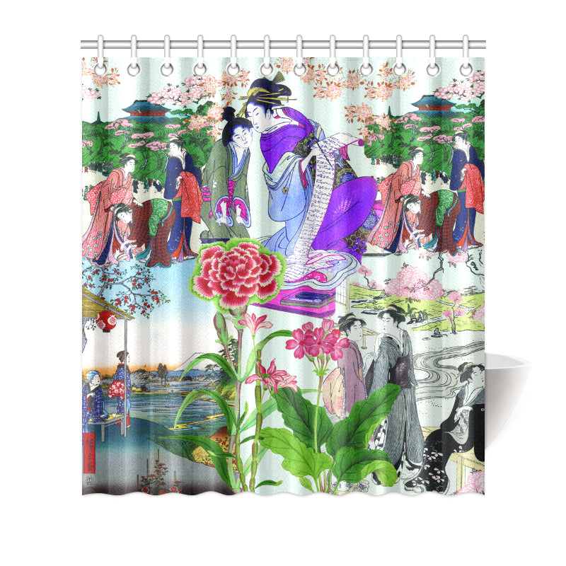 Load Image Into Gallery Viewer Japanese Art Collage Cherry Blossom Geisha Shower Curtain