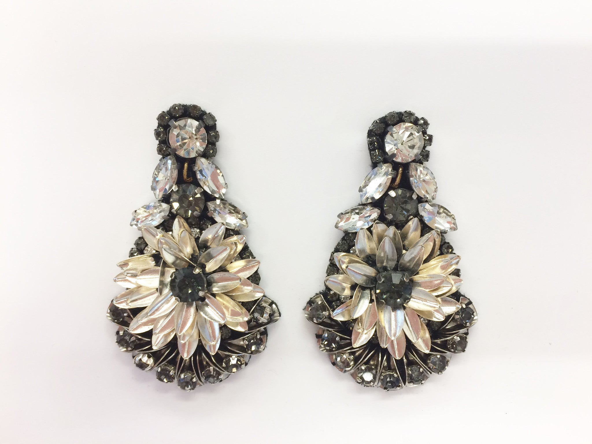 Earring with Metal Sequin & Crystal Design