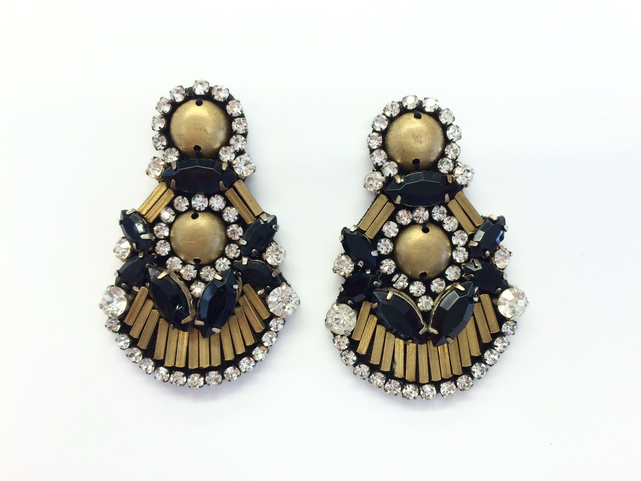 Earring with Black Crystals & Gold Metal Sequins