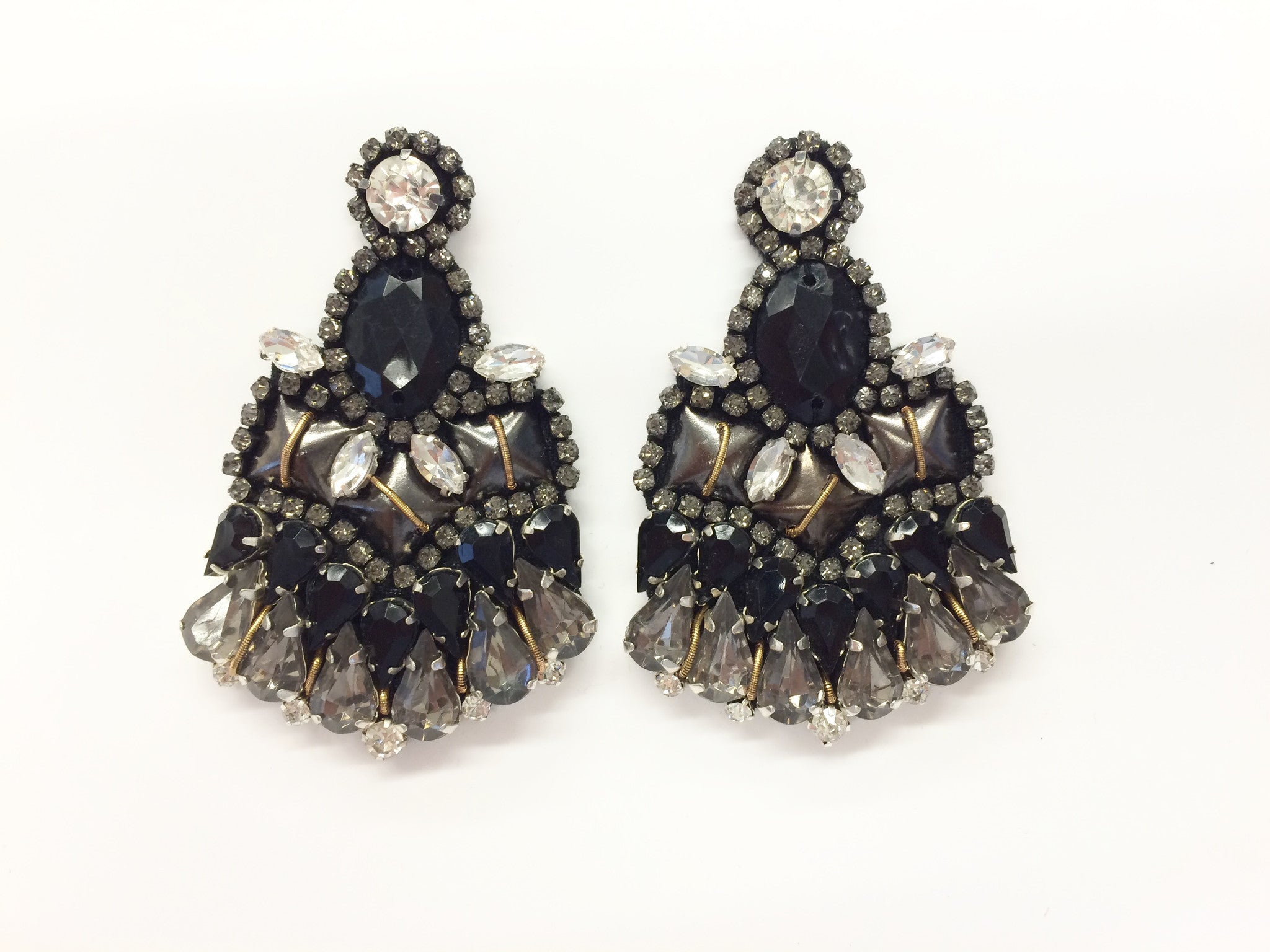 Black Crystal Beaded Earring