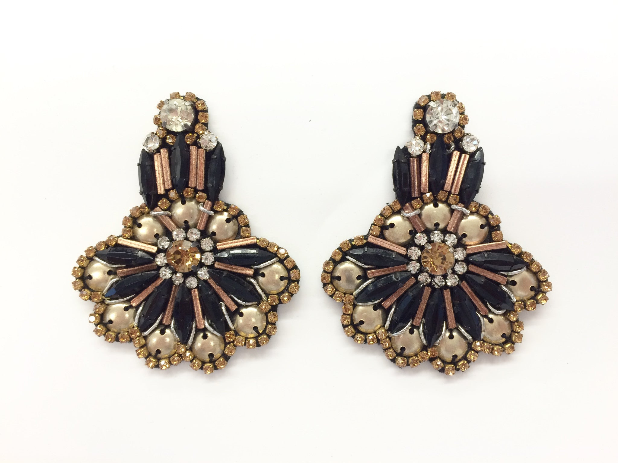 Earring with Black Crystals & Gold Beading