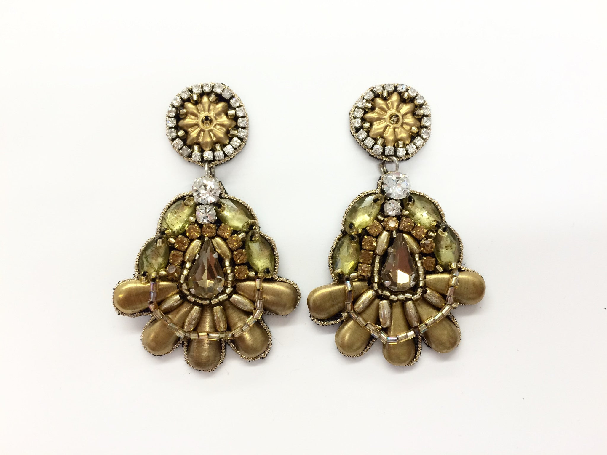Drop Earring with Gold Metal Beading & Crystals