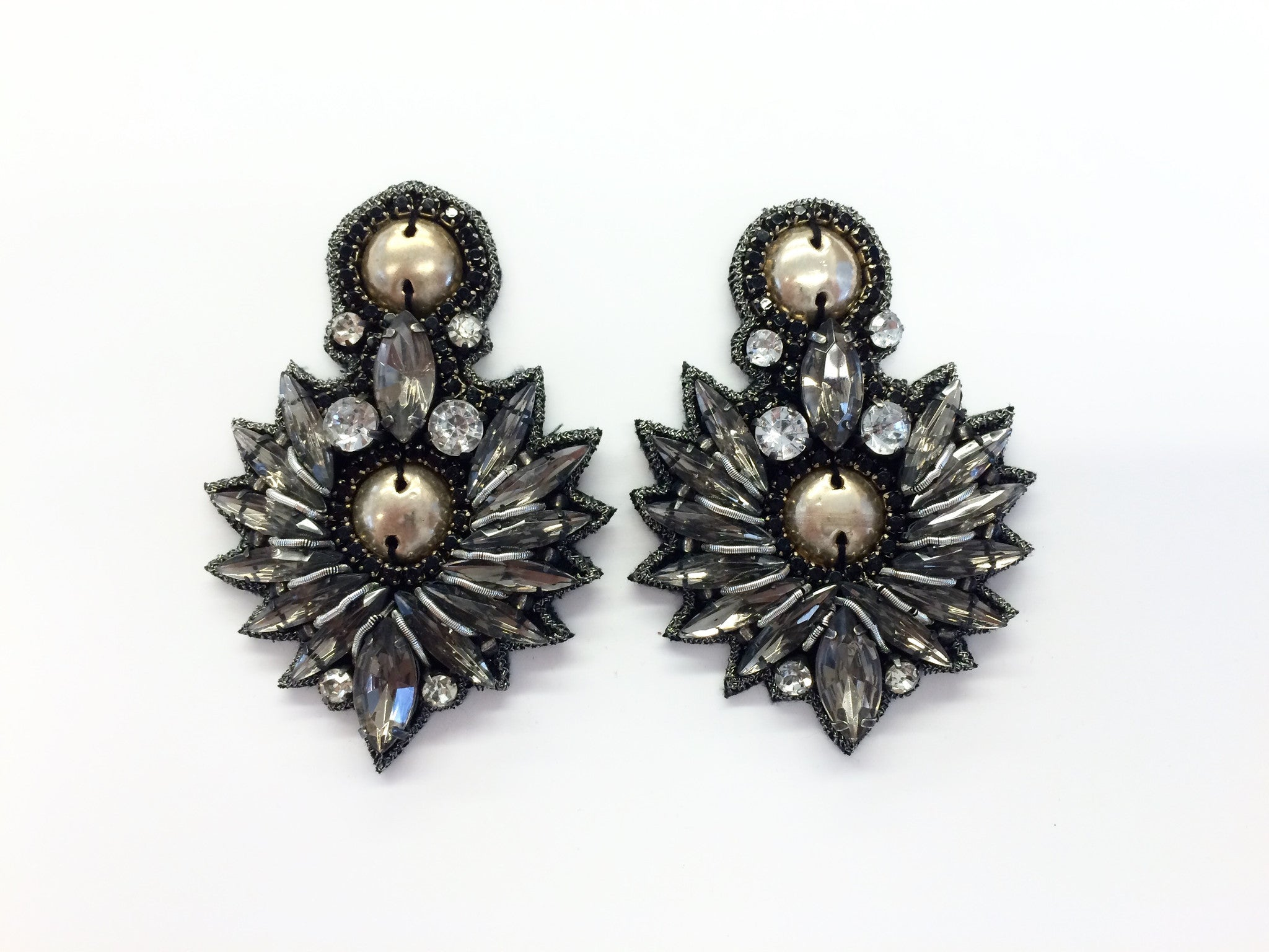 Earring with Metal Beads & Crystals