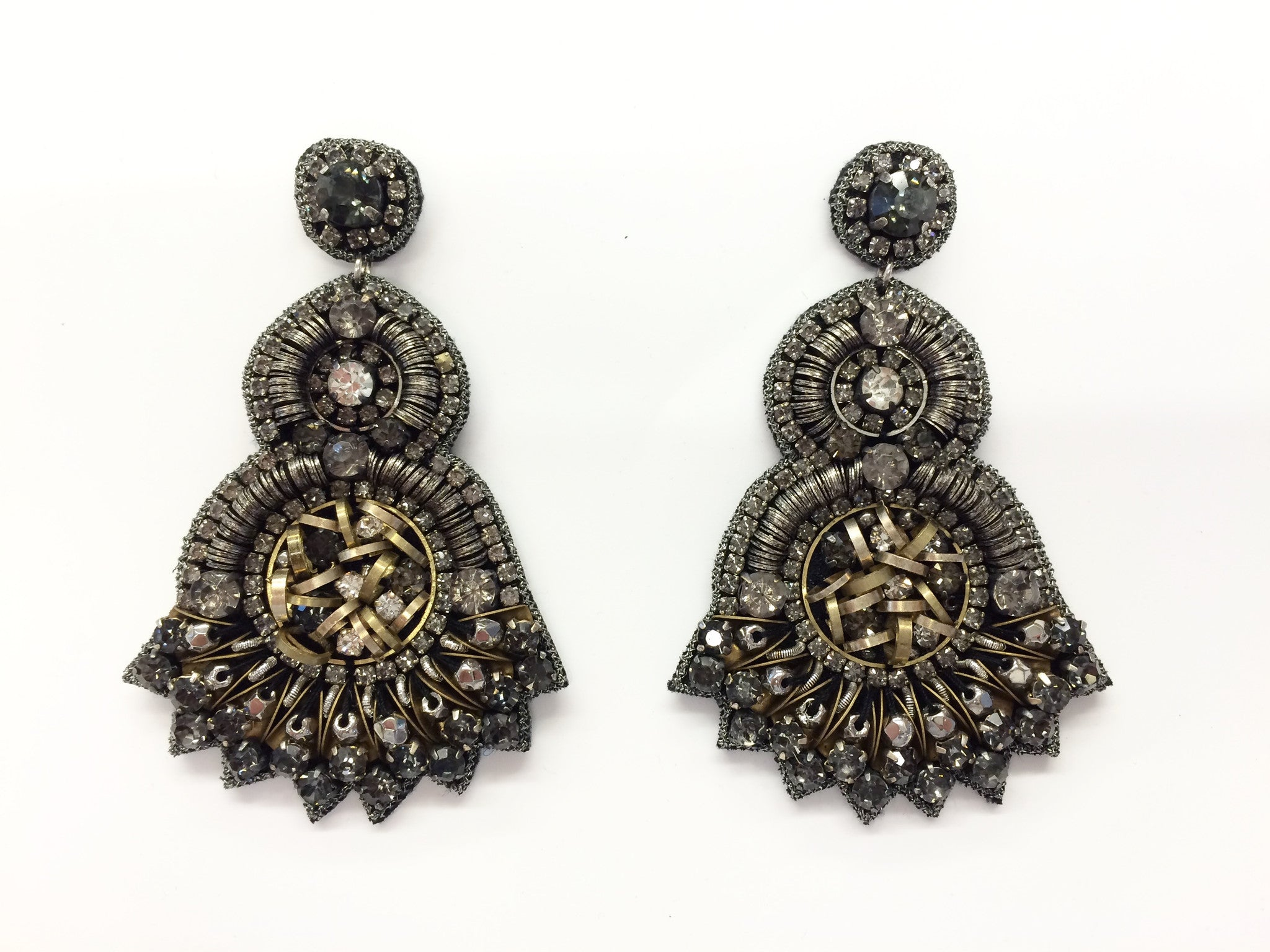 Earring with Crystals & Metal Sequins
