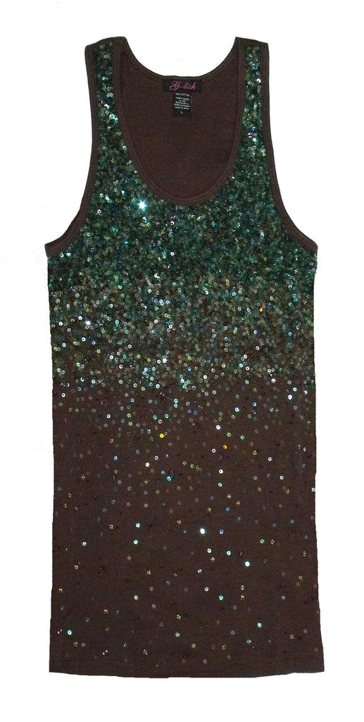 Tank with Shades of Green Sequin Degrade